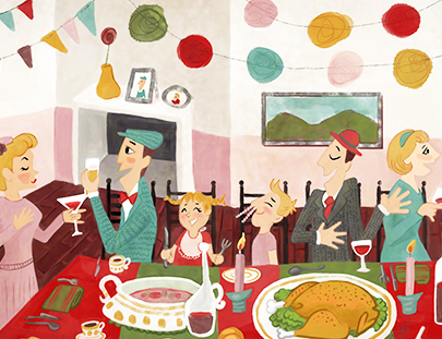 illustration, ilustracion, sasek style, cellebration, celebración, banquete, meal, food, lunch, dinner, family, familia , friends, amigos